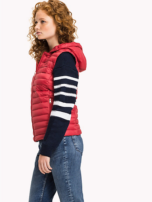 TOMMY HILFIGER Hooded Padded Gilet - CRIMSON - TOMMY HILFIGER Clothing - main image
