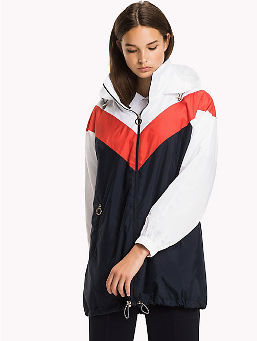 TOMMY HILFIGER Packable Parka - MIDNIGHT/ FLAME SCARLET / CLASSIC WHITE - TOMMY HILFIGER NEW IN - main image