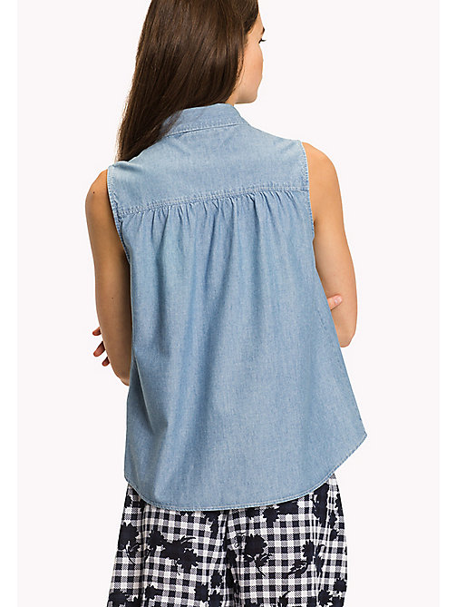 TOMMY HILFIGER Denim Chambray Sleeveless Shirt - MIFFY - TOMMY HILFIGER VACATION - detail image 1
