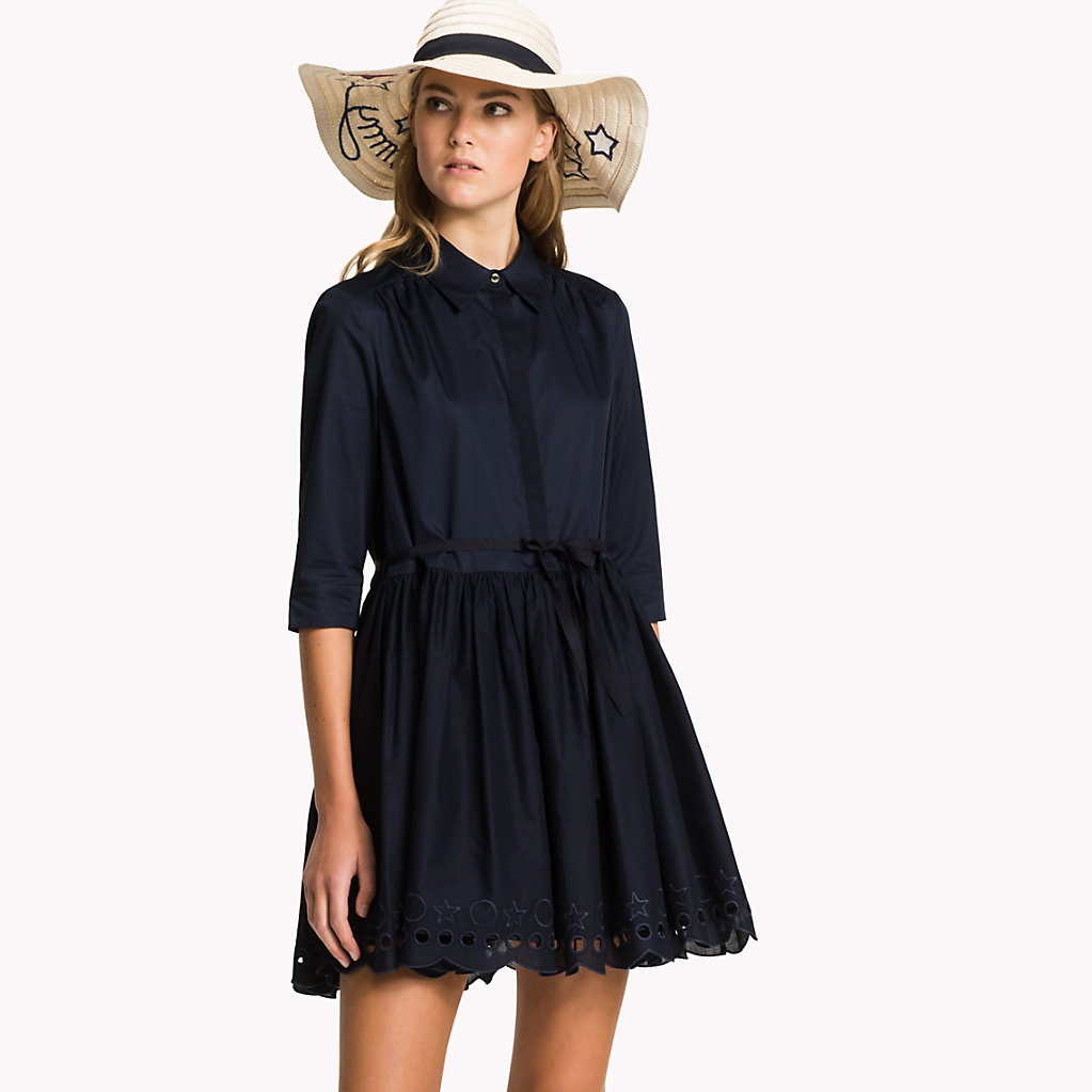 Scalloped Broderie Shirt Dress - Sales Up to -50% Tommy Hilfiger wV9BQV