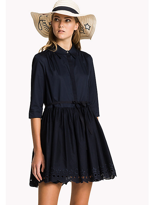 TOMMY HILFIGER Scalloped Broderie Shirt Dress - MIDNIGHT - TOMMY HILFIGER Vacation Style - main image