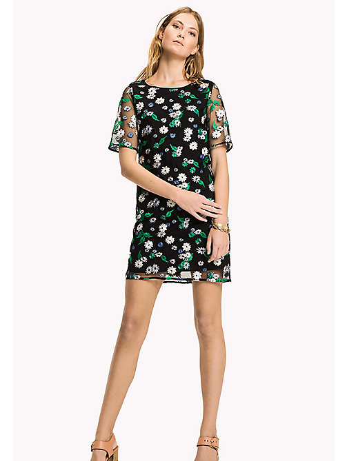 TOMMY HILFIGER Embroidered Floral Midi Dress - BLACK BEAUTY MULTI / FLORAL - TOMMY HILFIGER Occasion wear - main image