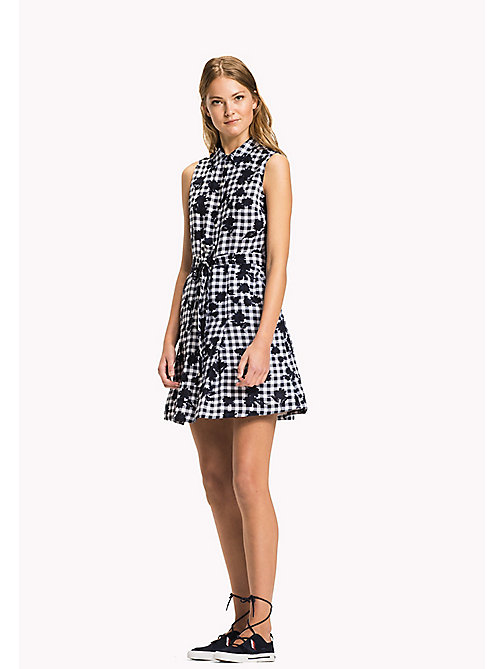 TOMMY HILFIGER Sleeveless Patterned Dress - TROPHY FLORAL OVERPRINT GINGHAM PRT / NA - TOMMY HILFIGER VACATION - main image