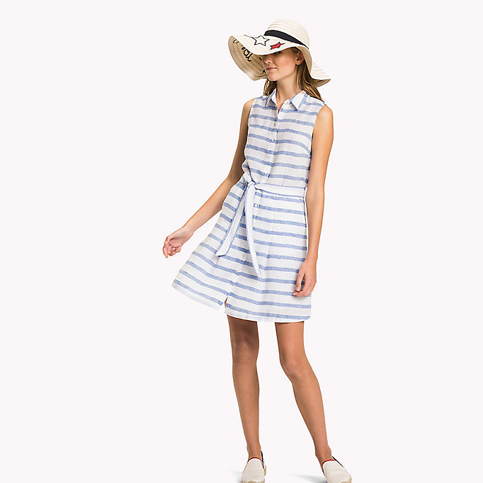TOMMY HILFIGER Sleeveless Patterned Dress - TROPHY FLORAL OVERPRINT GINGHAM PRT / NA - TOMMY HILFIGER Women - main image