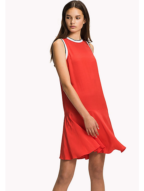 TOMMY HILFIGER Sleeveless Regular Fit Dress - FLAME SCARLET / NAVY BLAZER - TOMMY HILFIGER NEW IN - main image
