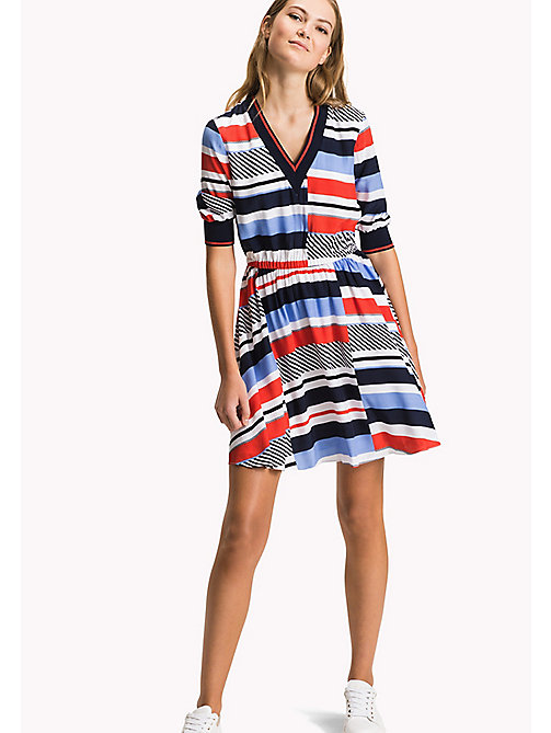 TOMMY HILFIGER Bedrucktes Kleid mit Branding - SPEED PATCHWORK STP / BLACK BEAUTY - TOMMY HILFIGER Midi - main image