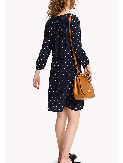 TOMMY HILFIGER Regular Fit Drawstring Dress - CLASSIC POLKA DOT PRT / NAVY BLAZER - TOMMY HILFIGER Миди - подробное изображение 1
