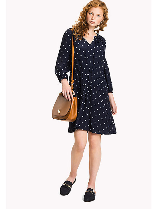 TOMMY HILFIGER Regular Fit Drawstring Dress - CLASSIC POLKA DOT PRT / NAVY BLAZER - TOMMY HILFIGER Миди - главное изображение