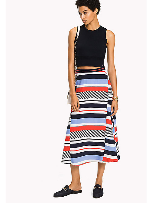 TOMMY HILFIGER Multi Stripe Midi Skirt - SPEED PATCHWORK STP / BLACK BEAUTY - TOMMY HILFIGER Skirts - main image