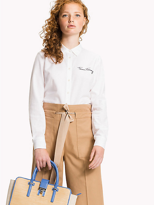 Embroidered Oxford Cotton Shirt - CLASSIC WHITE -  Clothing - main image