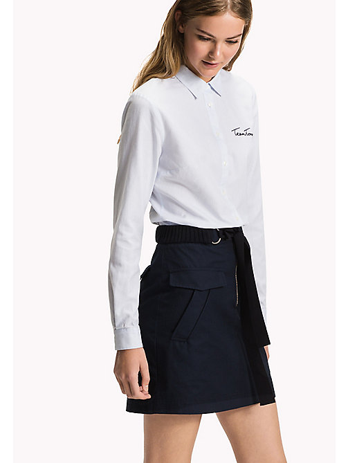 TOMMY HILFIGER Embroidered Oxford Cotton Shirt - HEATHER - TOMMY HILFIGER Women - main image