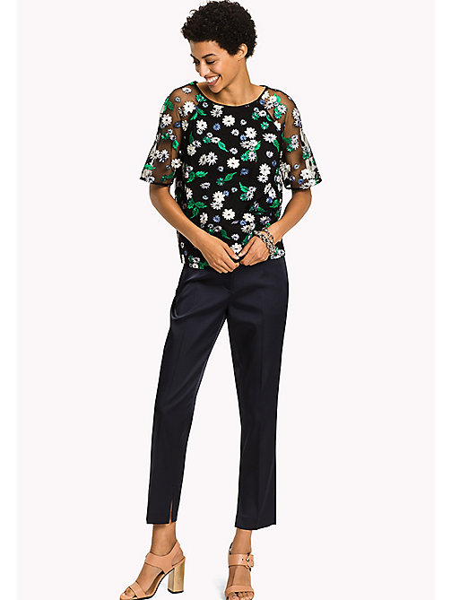 TOMMY HILFIGER Floral Embroidered Top - BLACK BEAUTY MULTI / FLORAL - TOMMY HILFIGER Clothing - main image