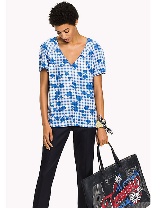 TOMMY HILFIGER V-Neck Regular Fit Top - TROPHY FLORAL OVERPRINT GINGHAM PRT / RE - TOMMY HILFIGER Clothing - main image