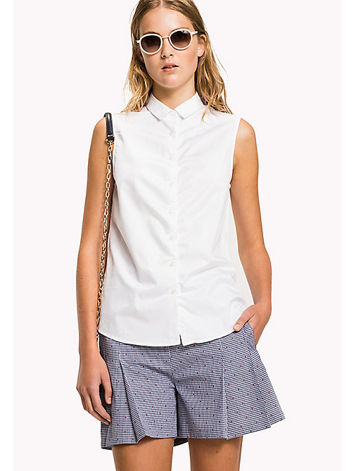 TOMMY HILFIGER Sleeveless Cotton Shirt - CLASSIC WHITE - TOMMY HILFIGER The Office Edit - main image