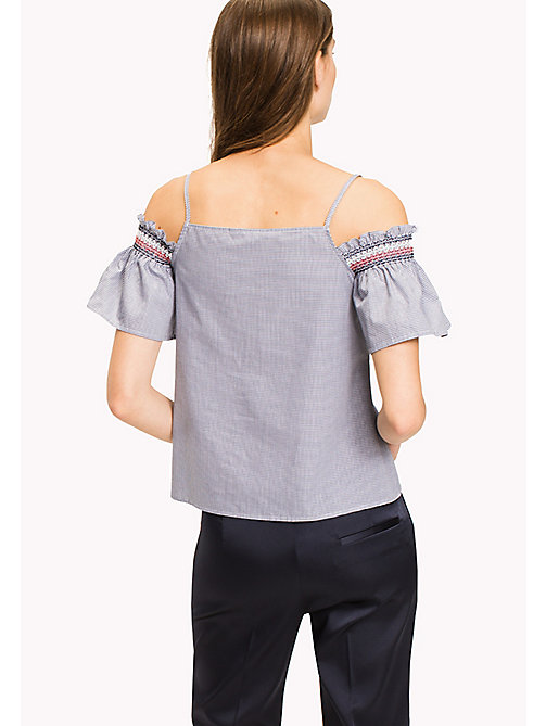 TOMMY HILFIGER Getailleerd off-shouldershirt - NAVY / WHITE GINGHAM - TOMMY HILFIGER Tops - detail image 1