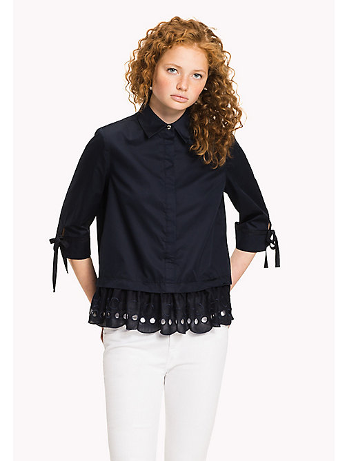 TOMMY HILFIGER Scalloped Broderie Blouse - MIDNIGHT - TOMMY HILFIGER Tops - main image