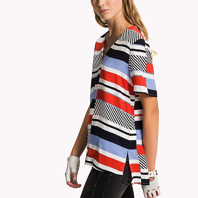 TOMMY HILFIGER V-Neck Curved Hem Top - SNOW WHITE - TOMMY HILFIGER Women - detail image 2