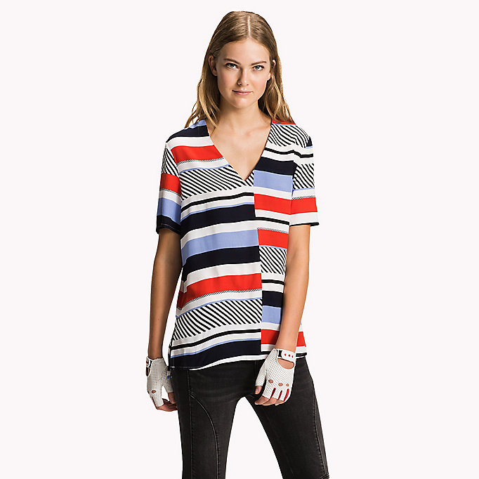 TOMMY HILFIGER V-Neck Curved Hem Top - SNOW WHITE - TOMMY HILFIGER Women - main image