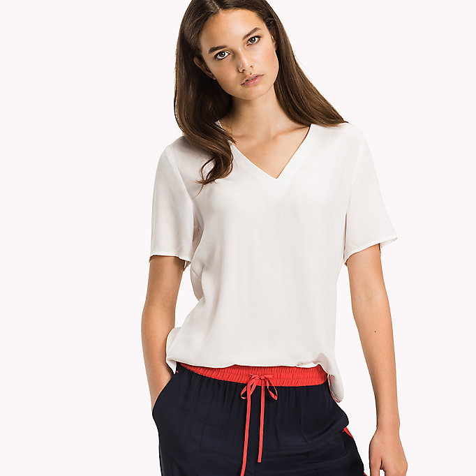 TOMMY HILFIGER V-Neck Curved Hem Top - CRIMSON - TOMMY HILFIGER Women - main image