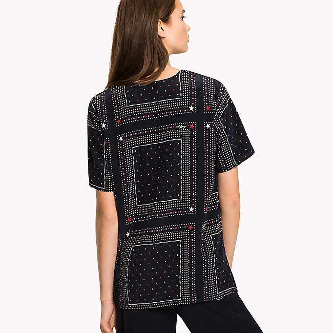 TOMMY HILFIGER V-Neck Curved Hem Top - SPEED PATCHWORK STP / BLACK BEAUTY - TOMMY HILFIGER Women - detail image 1