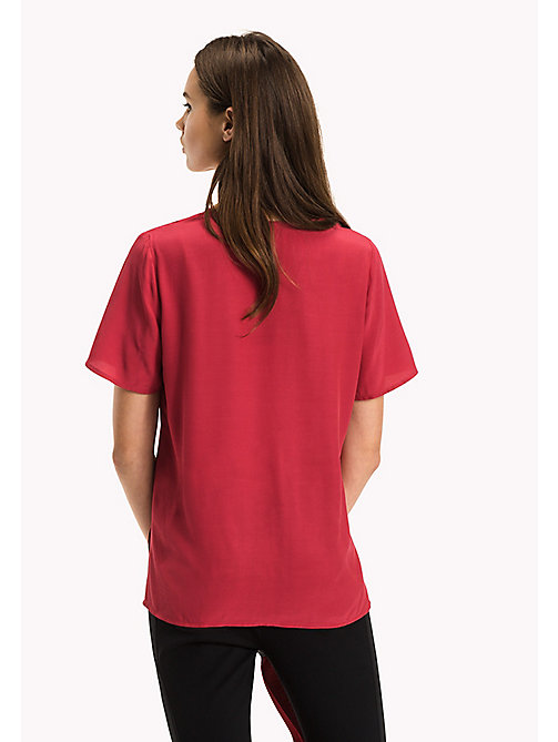 TOMMY HILFIGER V-Neck Curved Hem Top - CRIMSON - TOMMY HILFIGER Tops - detail image 1