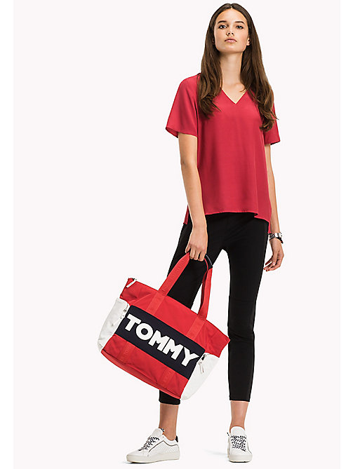 TOMMY HILFIGER V-Neck Curved Hem Top - CRIMSON - TOMMY HILFIGER Tops - main image
