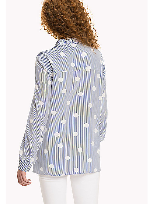 TOMMY HILFIGER Stripe Polka Dot Blouse - OVERSIZED OVERPRINTED POLKA DOT PRT / CL - TOMMY HILFIGER Clothing - detail image 1