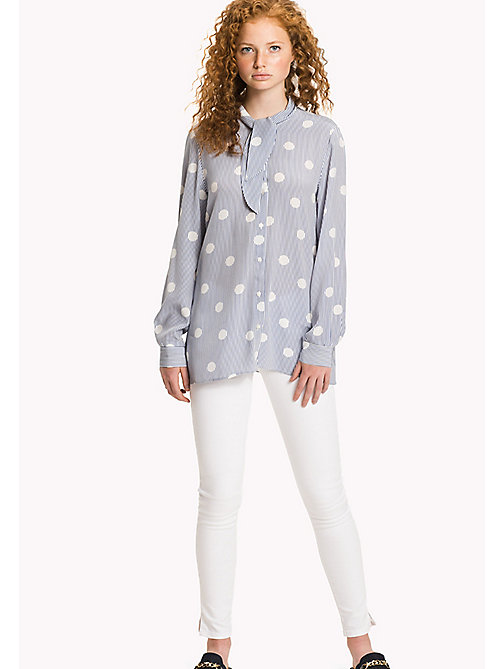 TOMMY HILFIGER Stripe Polka Dot Blouse - OVERSIZED OVERPRINTED POLKA DOT PRT / CL - TOMMY HILFIGER Clothing - main image