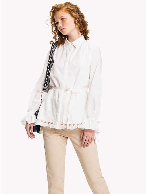 Scalloped Broderie Blouse - CLASSIC WHITE - TOMMY HILFIGER Clothing - main image