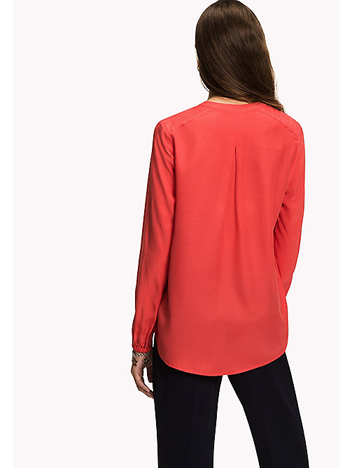 TOMMY HILFIGER Regular Fit Blouse - FLAME SCARLET - TOMMY HILFIGER Tops - detail image 1