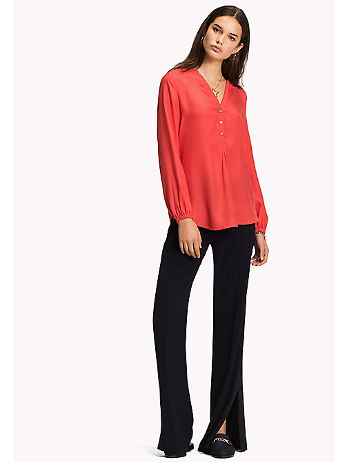 Regular Fit Blouse - FLAME SCARLET - TOMMY HILFIGER Clothing - main image