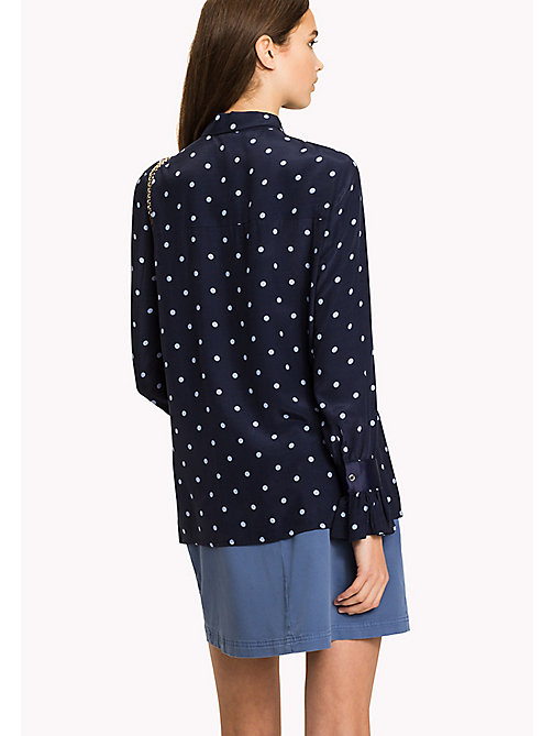 Flared Cuff Shirt - CLASSIC POLKA DOT PRT / NAVY BLAZER - TOMMY HILFIGER Clothing - detail image 1