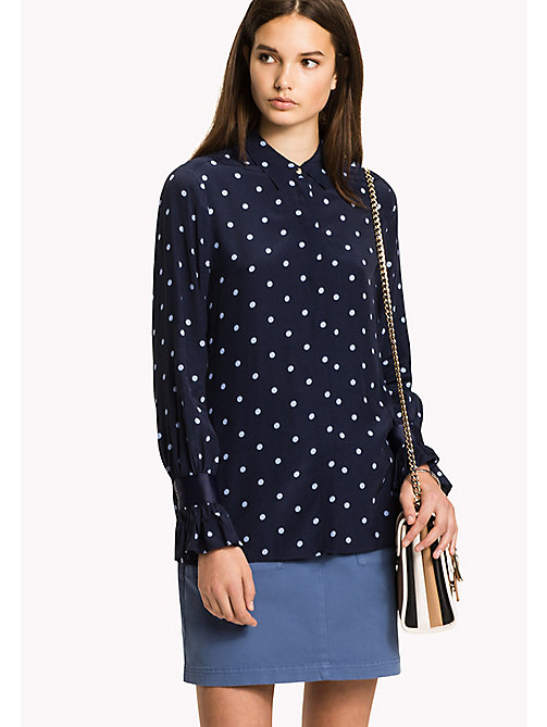 Flared Cuff Shirt - CLASSIC POLKA DOT PRT / NAVY BLAZER - TOMMY HILFIGER Clothing - main image
