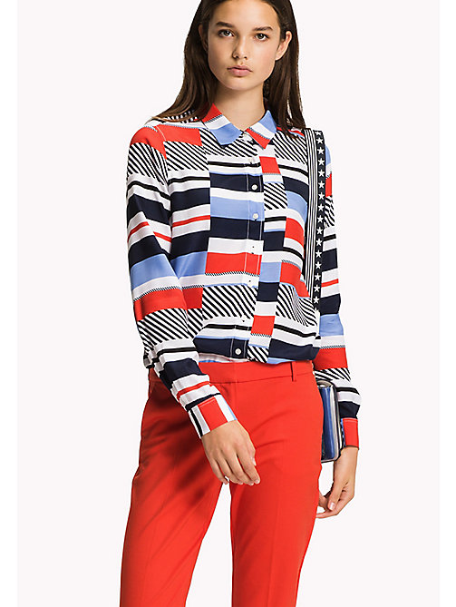 TOMMY HILFIGER Regular Fit Bluse mit Streifen - SPEED PATCHWORK STP / BLACK BEAUTY - TOMMY HILFIGER Damen - main image