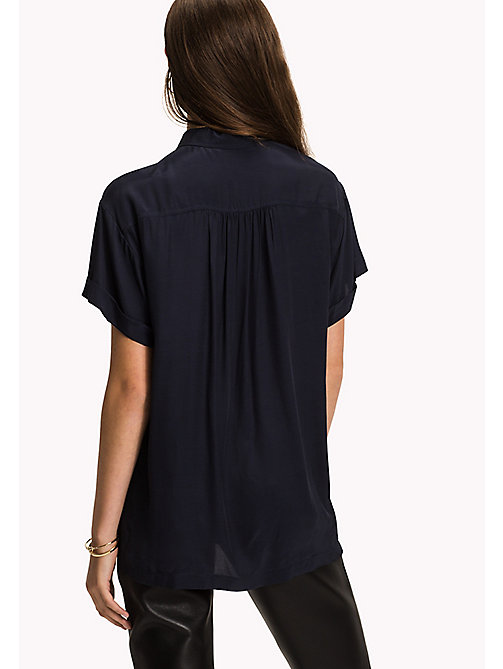TOMMY HILFIGER Short Sleeve Blouse - MIDNIGHT - TOMMY HILFIGER Clothing - detail image 1