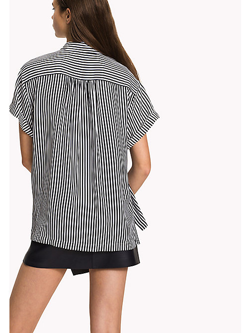TOMMY HILFIGER Short Sleeve Blouse - BLACK BEAUTY / CLASSIC WHITE STP - TOMMY HILFIGER Tops - detail image 1