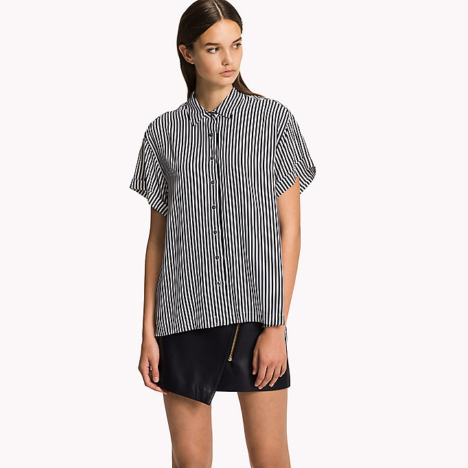 TOMMY HILFIGER Short Sleeve Blouse - MIDNIGHT - TOMMY HILFIGER Women - detail image 3
