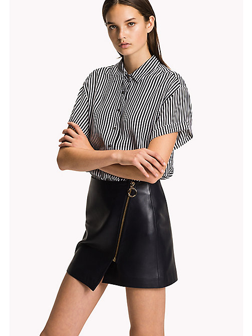 TOMMY HILFIGER Short Sleeve Blouse - BLACK BEAUTY / CLASSIC WHITE STP - TOMMY HILFIGER Tops - main image
