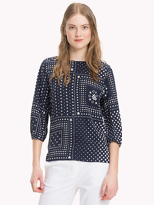 Bandana Print Silk Blouse - BANDANA SILK PROGRAM PRT / NAVY BLAZER - TOMMY HILFIGER Clothing - main image