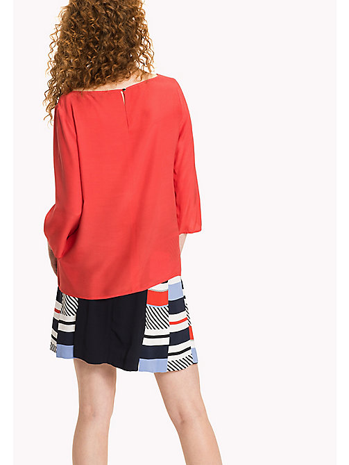 TOMMY HILFIGER Boat Neck Regular Fit Blouse - FLAME SCARLET - TOMMY HILFIGER Tops - detail image 1