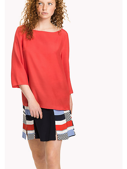 TOMMY HILFIGER Boat Neck Regular Fit Blouse - FLAME SCARLET - TOMMY HILFIGER Tops - main image