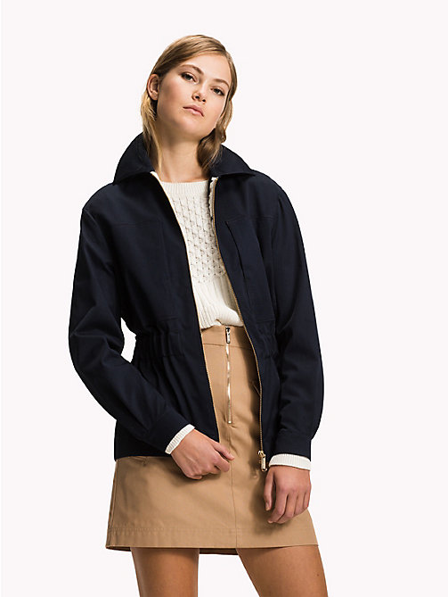 TOMMY HILFIGER Oversized Cotton Twill Jacket - MIDNIGHT - TOMMY HILFIGER The Office Edit - main image