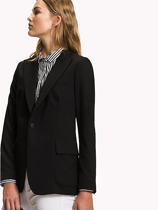 TOMMY HILFIGER Single Breasted Regular Fit Blazer - BLACK BEAUTY - TOMMY HILFIGER The Office Edit - main image