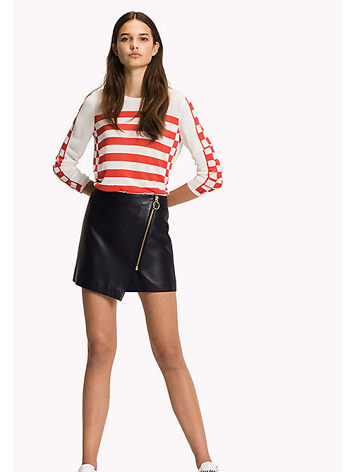 TOMMY HILFIGER Leather Slim Fit Mini Skirt - MIDNIGHT -  Skirts - main image
