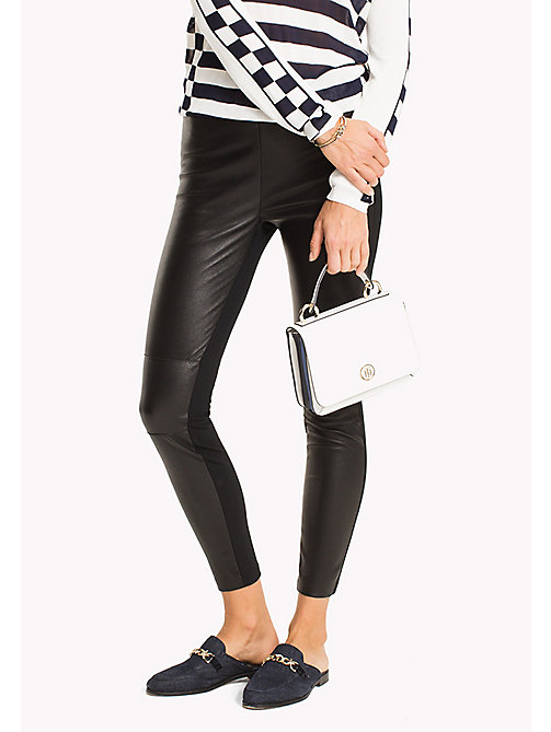TOMMY HILFIGER Leather Super Slim Fit Leggings - BLACK BEAUTY - TOMMY HILFIGER Leather Trousers - main image