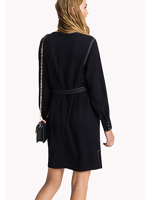 TOMMY HILFIGER Belted Oversized Dress - MIDNIGHT - TOMMY HILFIGER Midi - detail image 1