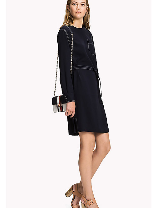 TOMMY HILFIGER Belted Oversized Dress - MIDNIGHT - TOMMY HILFIGER Midi - main image