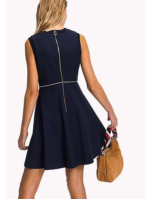 TOMMY HILFIGER Fitted Cotton Dress - MIDNIGHT - TOMMY HILFIGER Midi - detail image 1