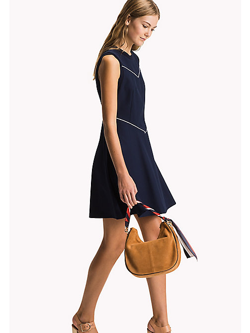TOMMY HILFIGER Fitted Cotton Dress - MIDNIGHT - TOMMY HILFIGER Midi - main image