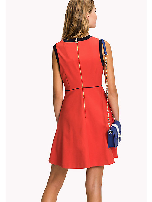 TOMMY HILFIGER Fitted Cotton Dress - FLAME SCARLET - TOMMY HILFIGER Midi - detail image 1